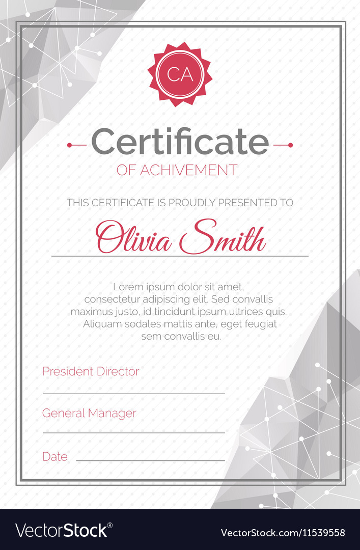 Certificate Template Polygonal Style Diploma Of vector image