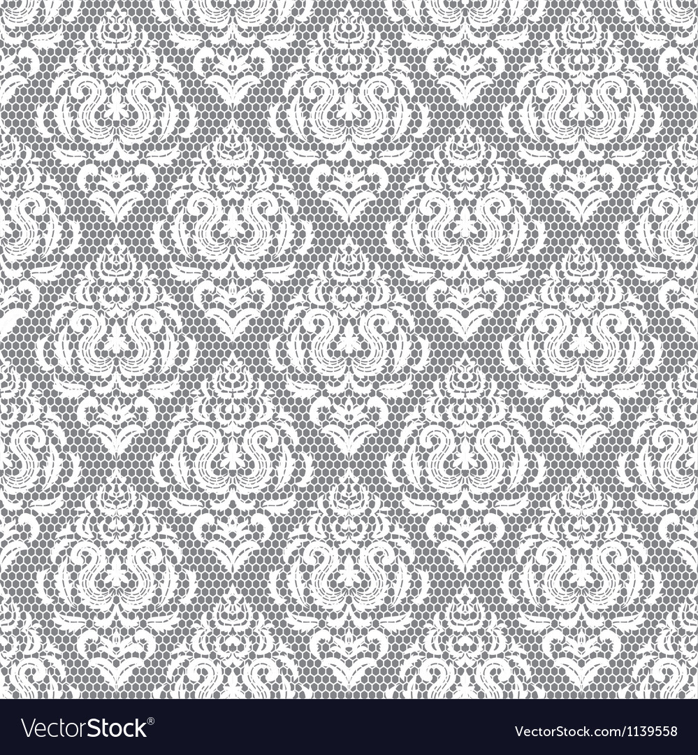 Lace floral pattern on gray background vector image