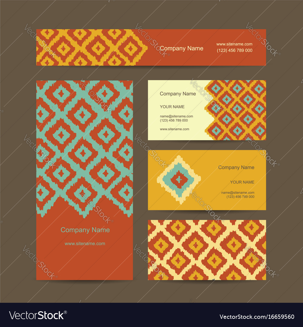 Business cards design geometric fabric pattern vector image colourmoves Choice Image