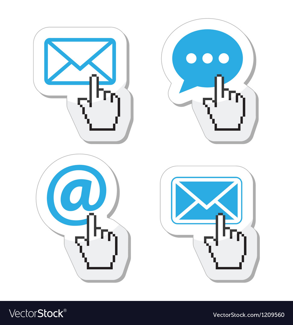 Contact buttons set with cursor hand icon vector image