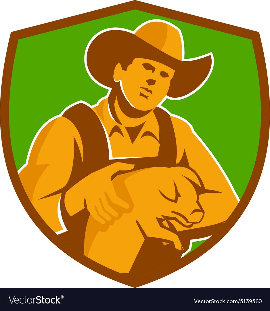 Pig Farmer Holding Piglet Front Shield Retro vector image