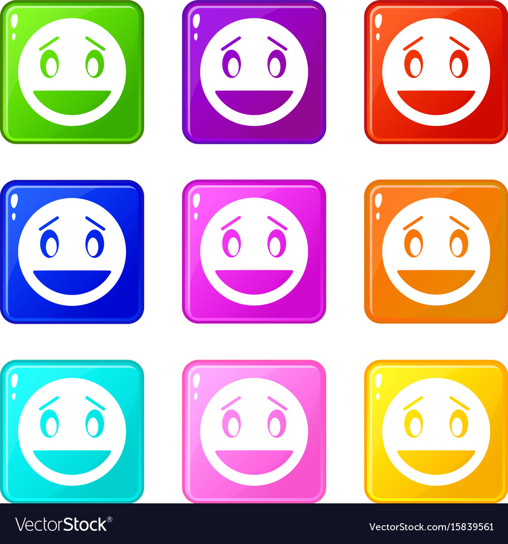 Confused emoticons 9 set vector image