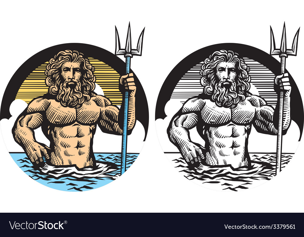 Poseidon god in classic pen style vector image