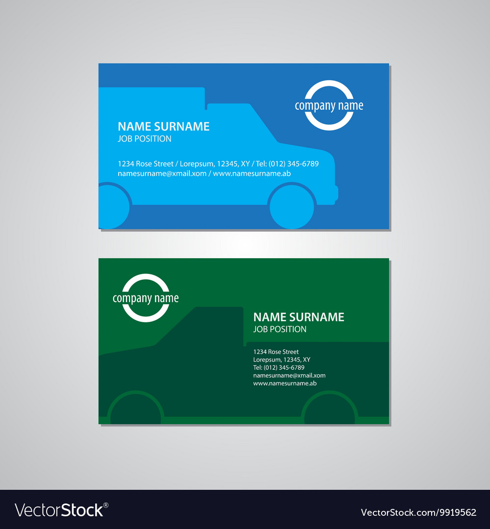 Set of two business cards with cars Royalty Free Vector