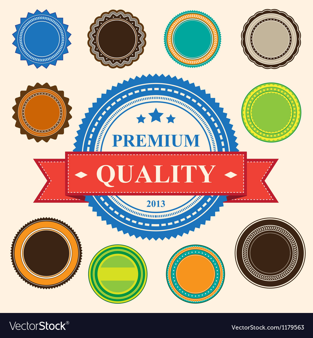 Set of blank retro vintage badges and labels eps10 vector image