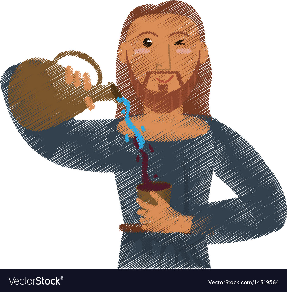 Drawing jesus christ miracle water and wine vector image