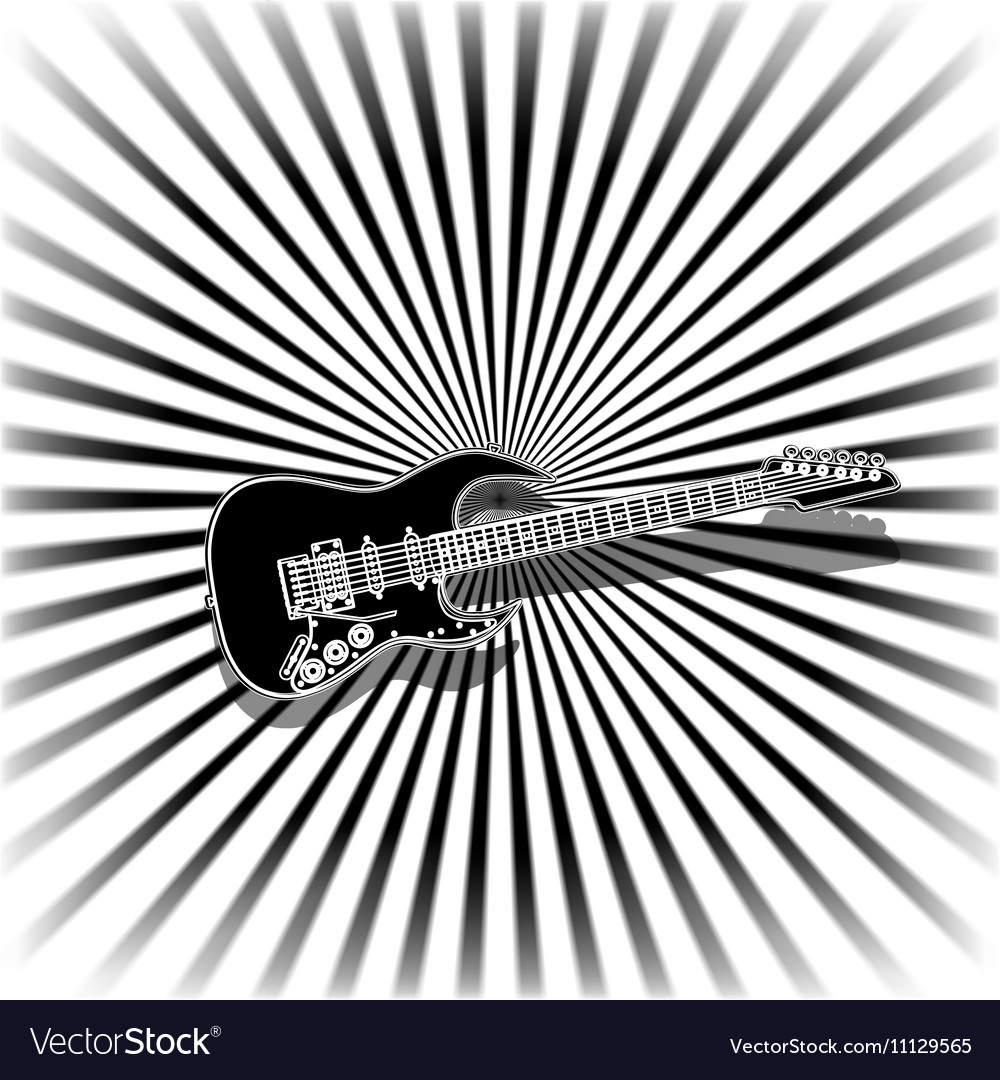 Black and white music background with a guitar vector image