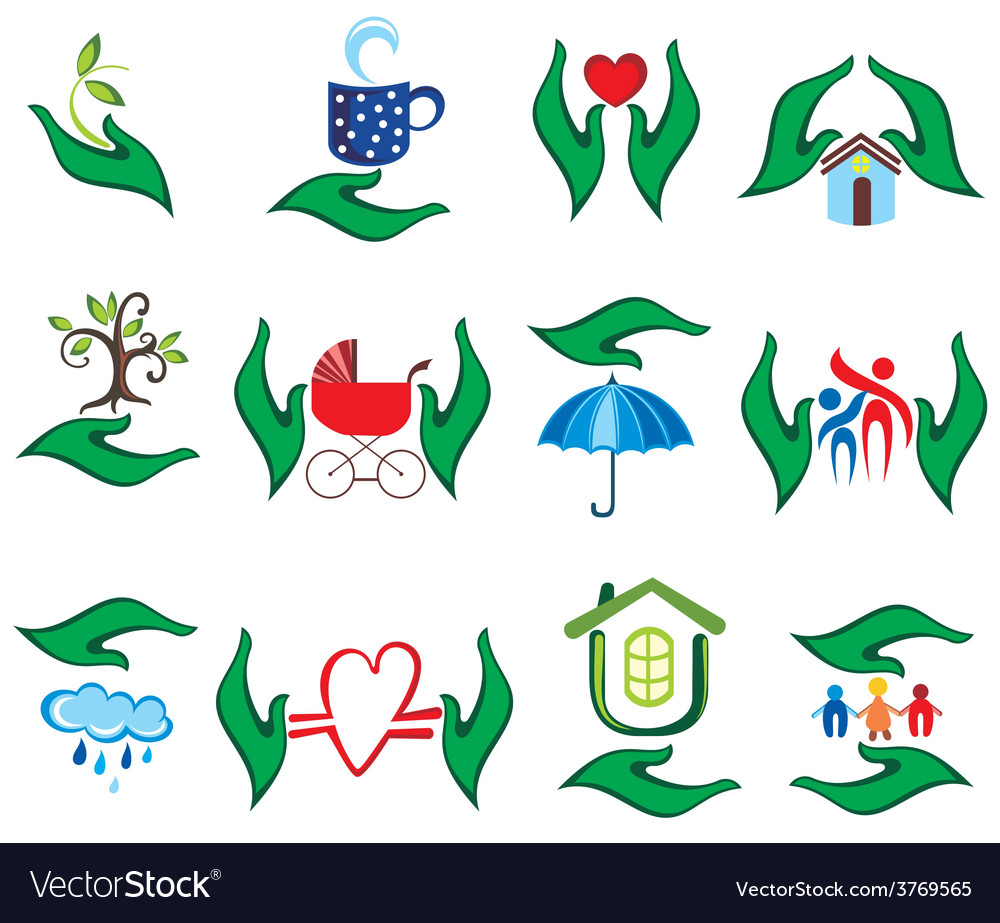 Green hands vector image
