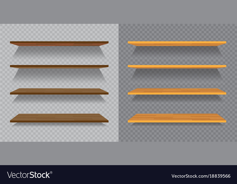 Set of empty wooden or plastic shelves isolated on vector image
