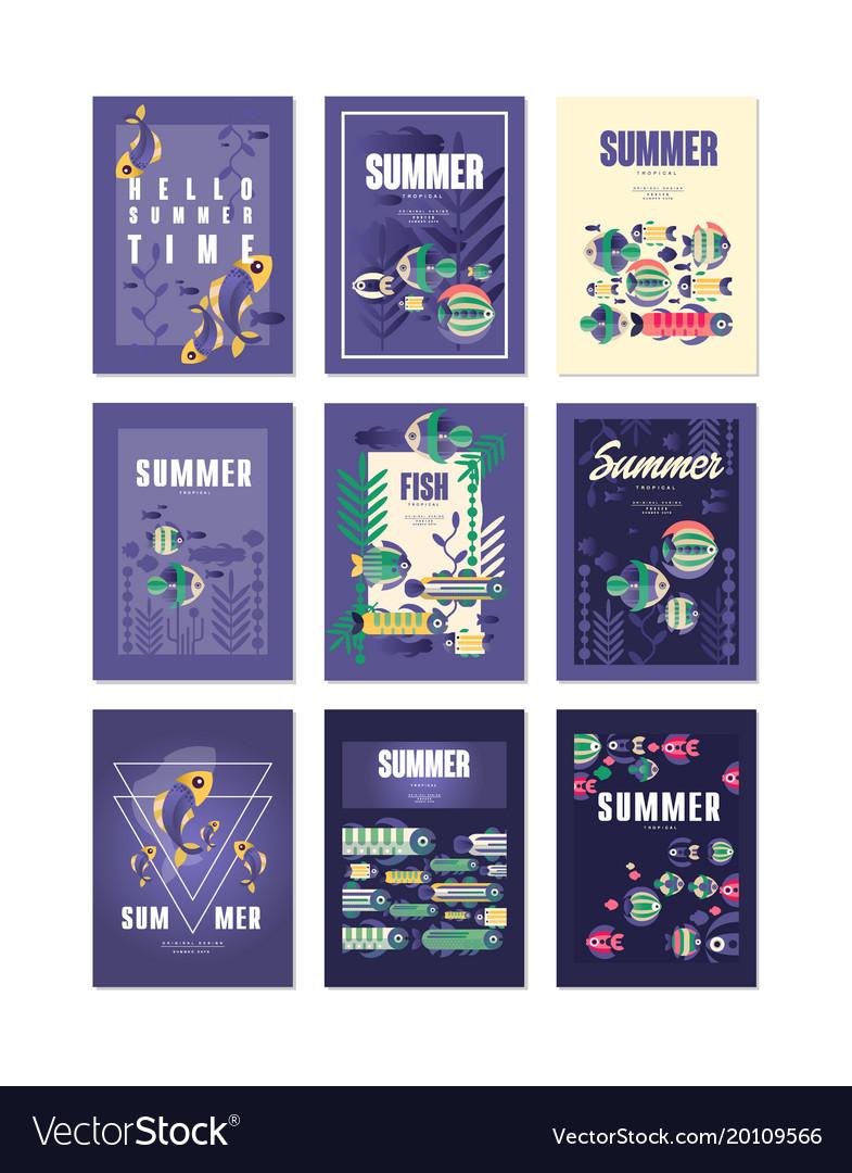 Summer holidays travel and fishing greeting cards vector image summer holidays travel and fishing greeting cards vector image kristyandbryce Choice Image