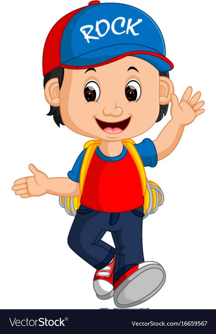 Boy with backpacks cartoon vector image