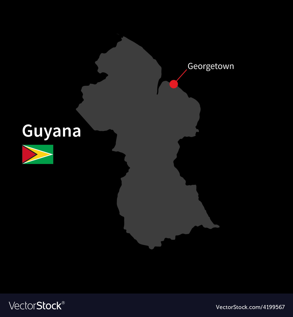Detailed map of Guyana and capital city Georgetown