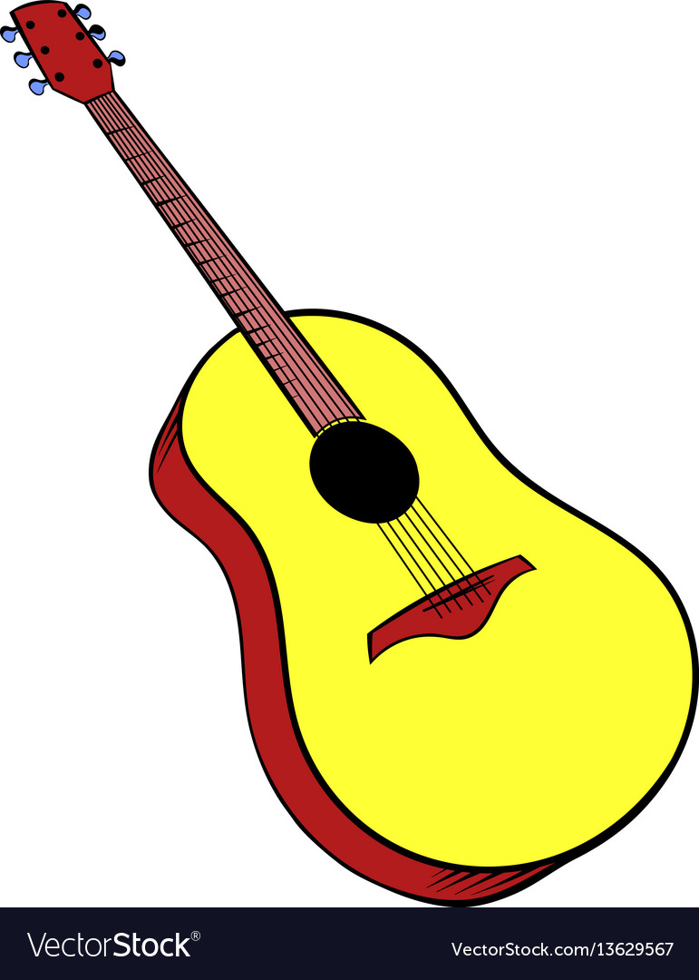Wooden acoustic guitar icon cartoon vector image