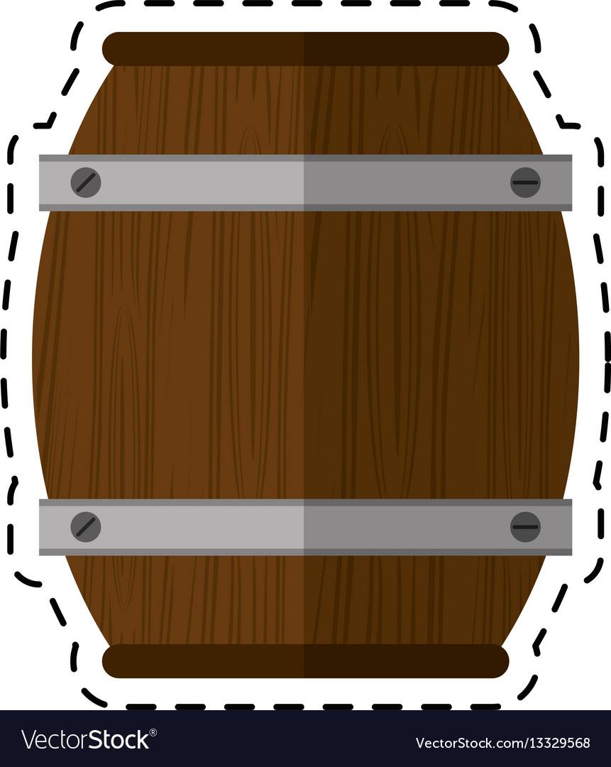 Cartoon wooden barrel wine icon vector image