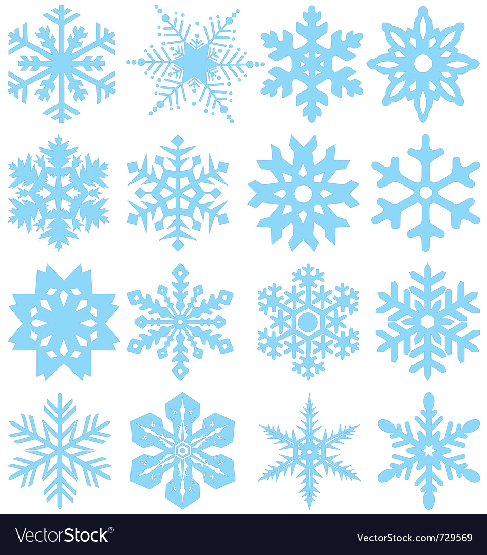 Snowflake silhouettes vector image