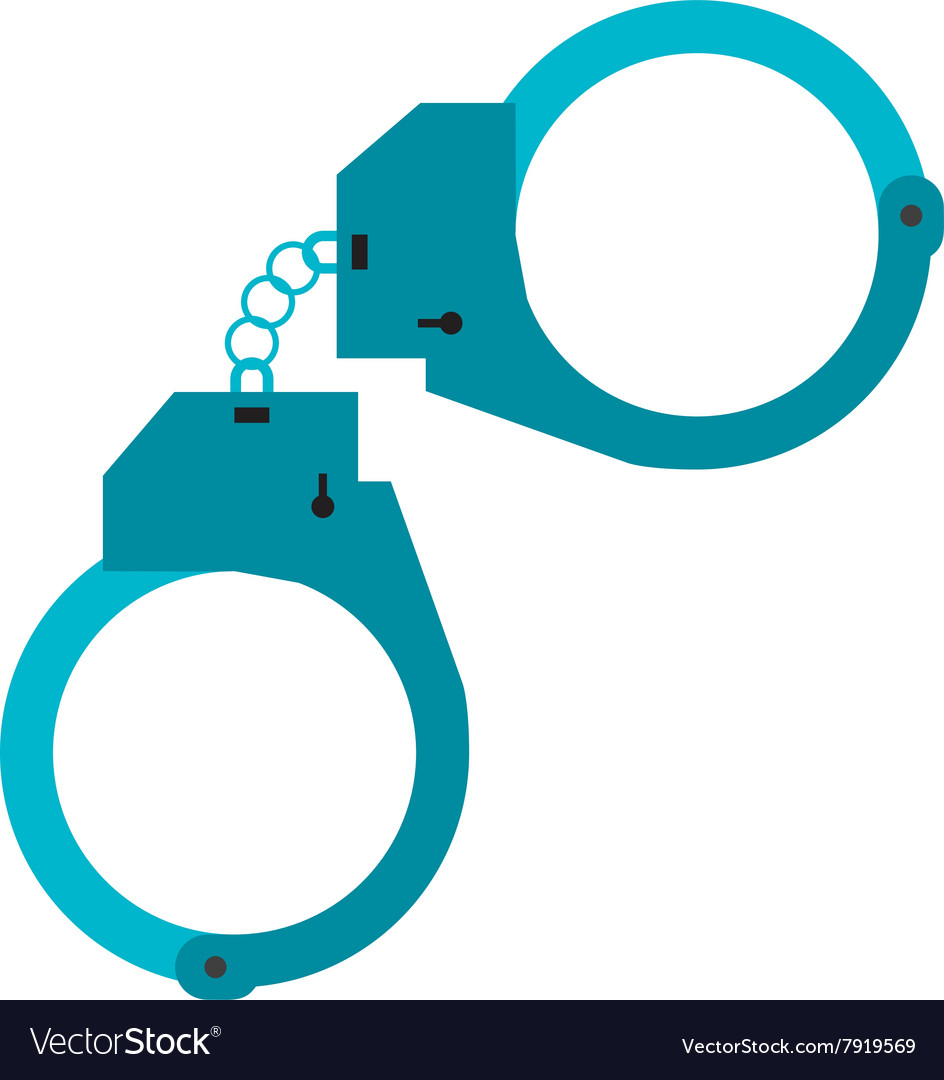 Metal police handcuffs flat vector image