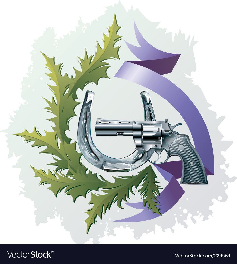 Revolver and horseshoe vector image