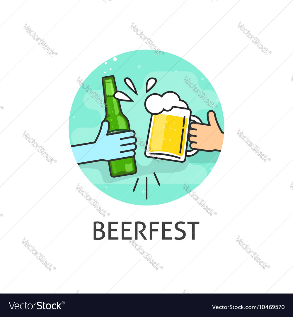 Beer festival logo isolated flat outline vector image