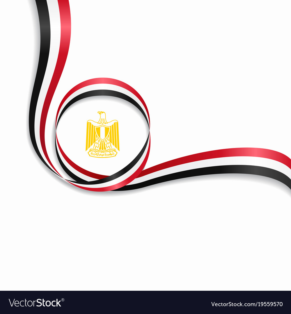 Egyptian wavy flag background vector image