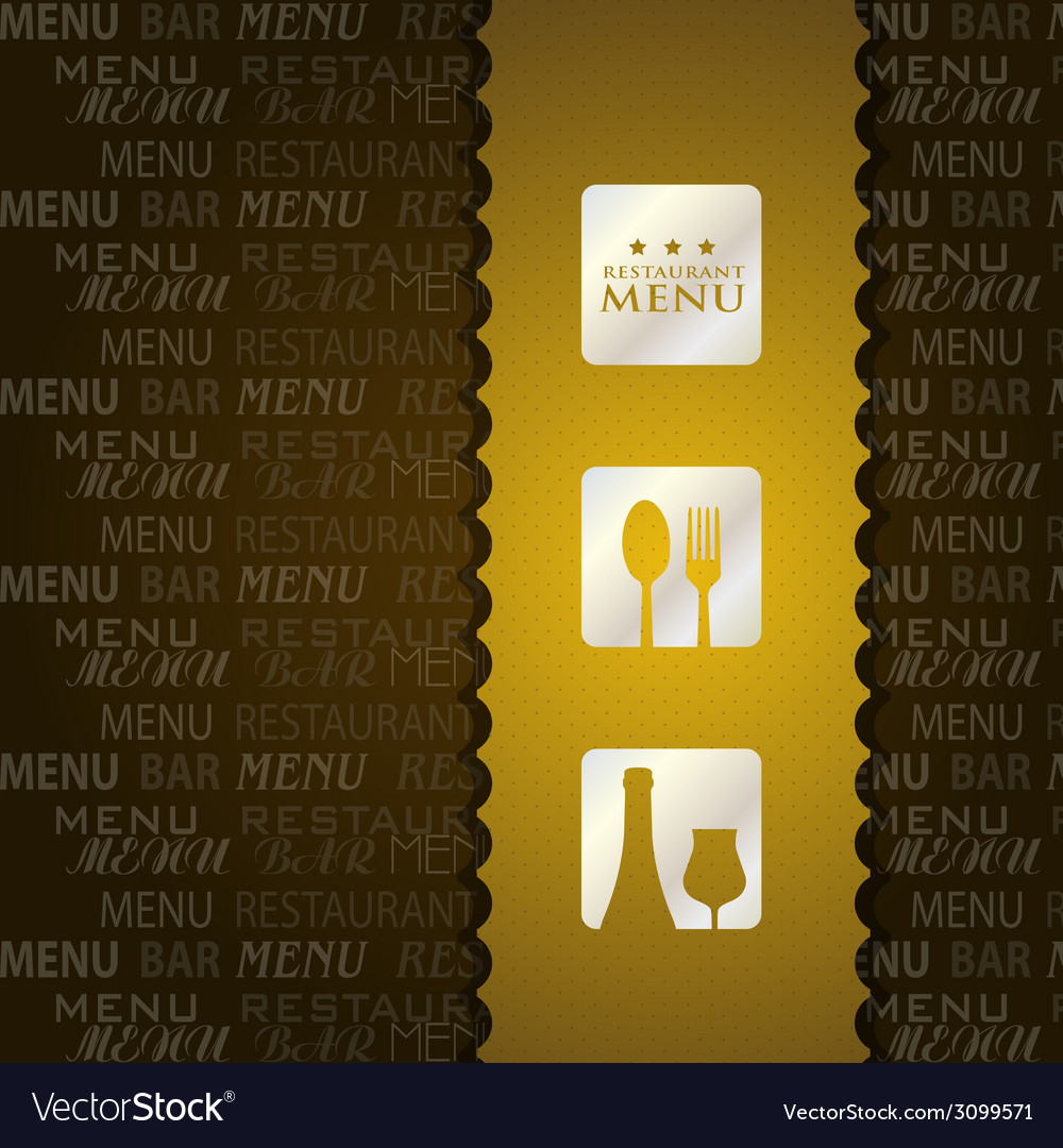 Restaurant menu presentation in brown background vector image