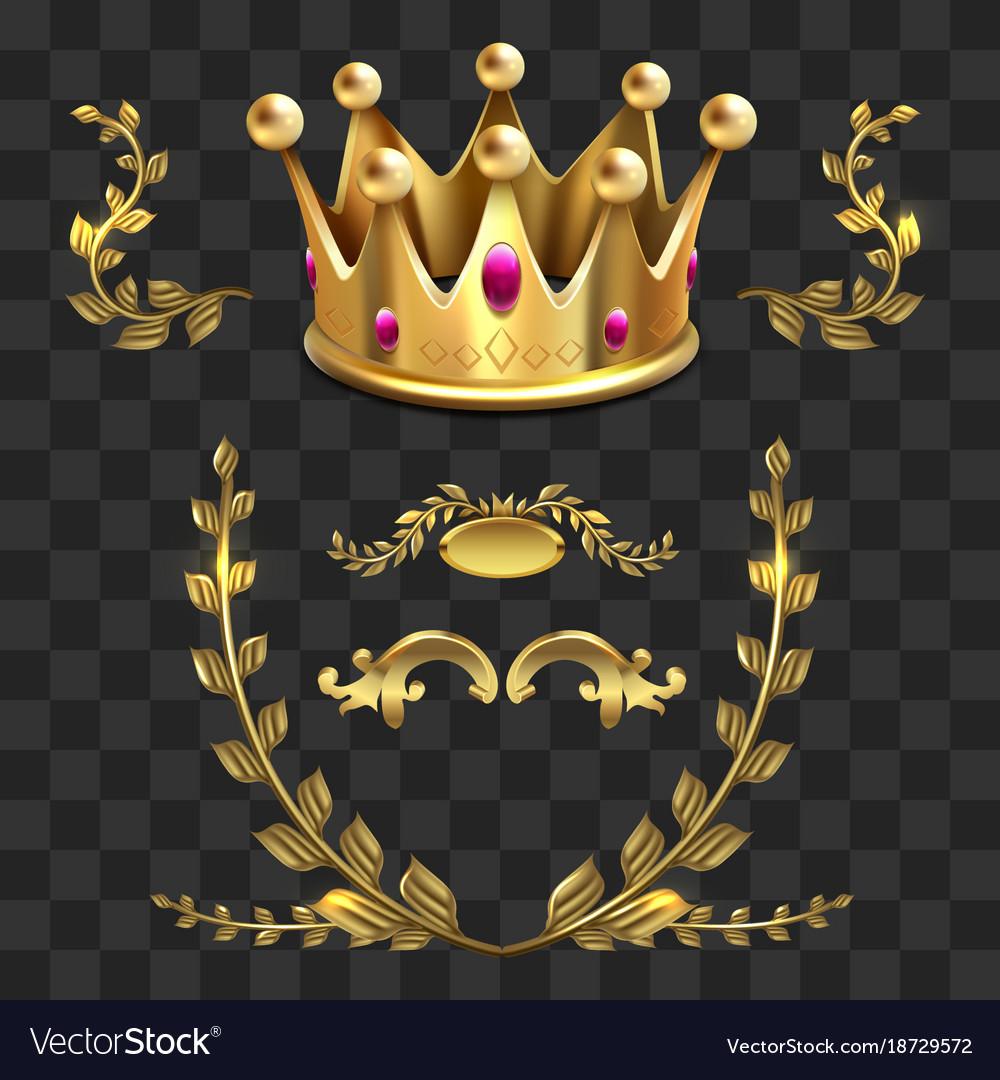 Golden heraldic elements kings crown vector image