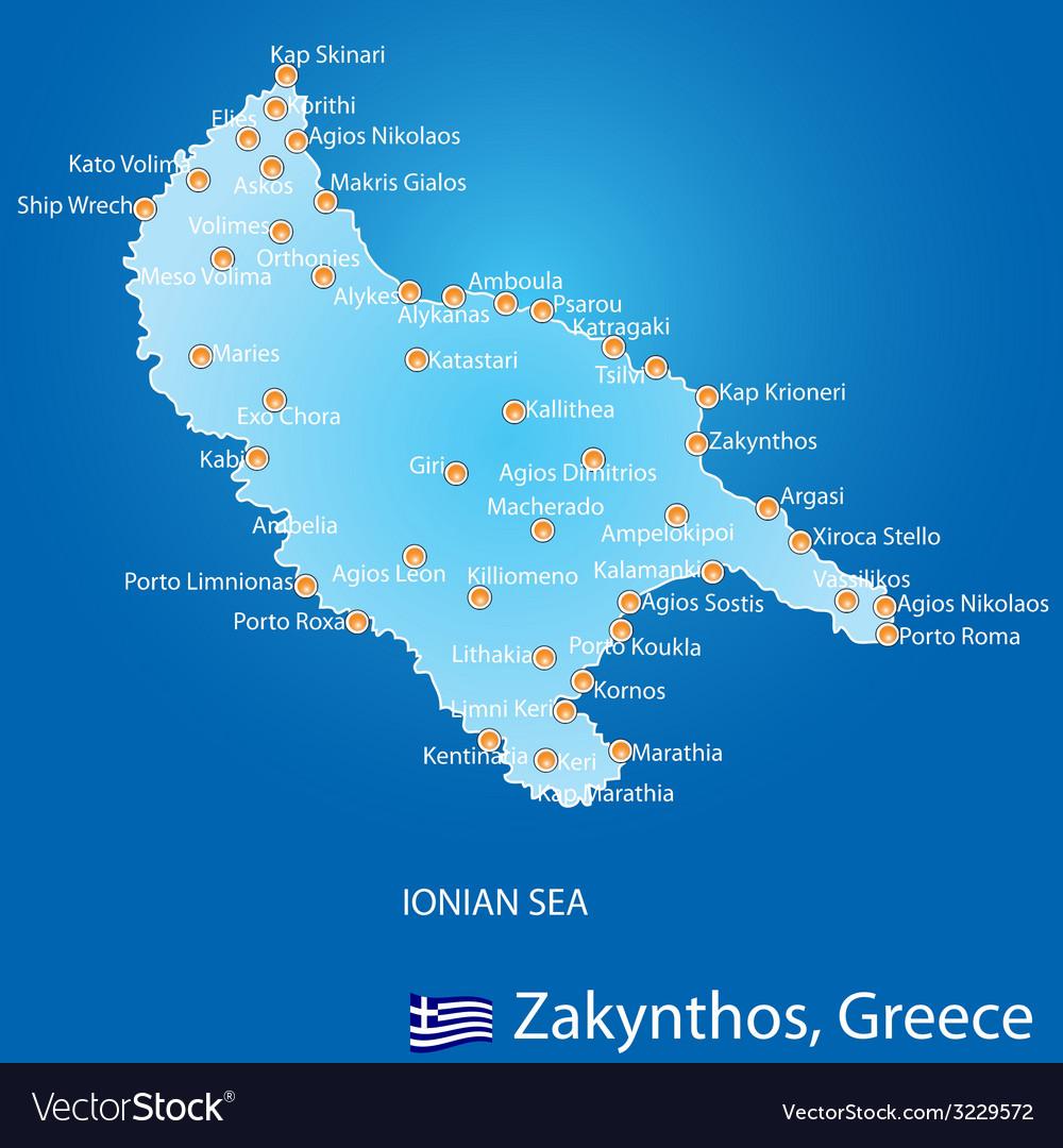 Island of Zakynthos in Greece map vector image