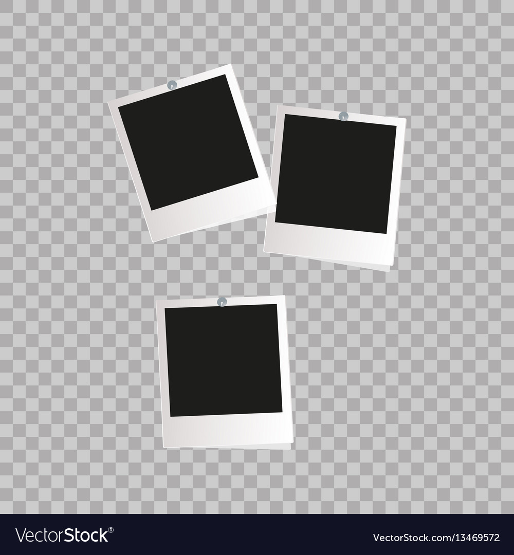 Photo frame white plastic border on a transparent vector image