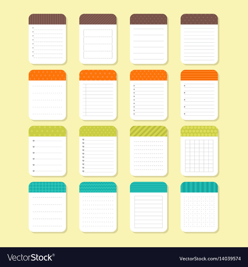 Template notepad design sheets of paper Royalty Free Vector