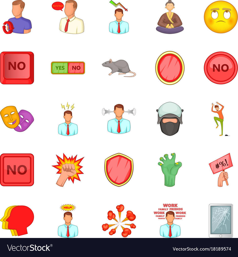 Tension icons set cartoon style vector image