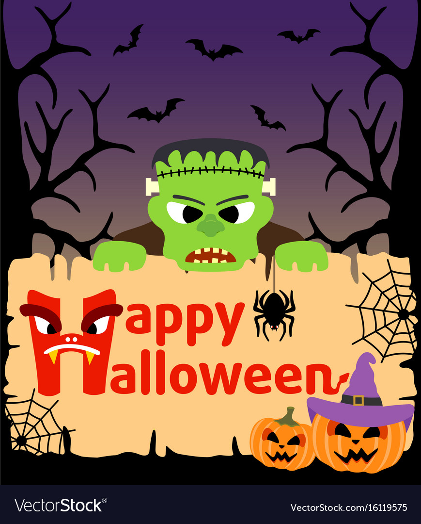 Halloween background card with frankenstein vector image