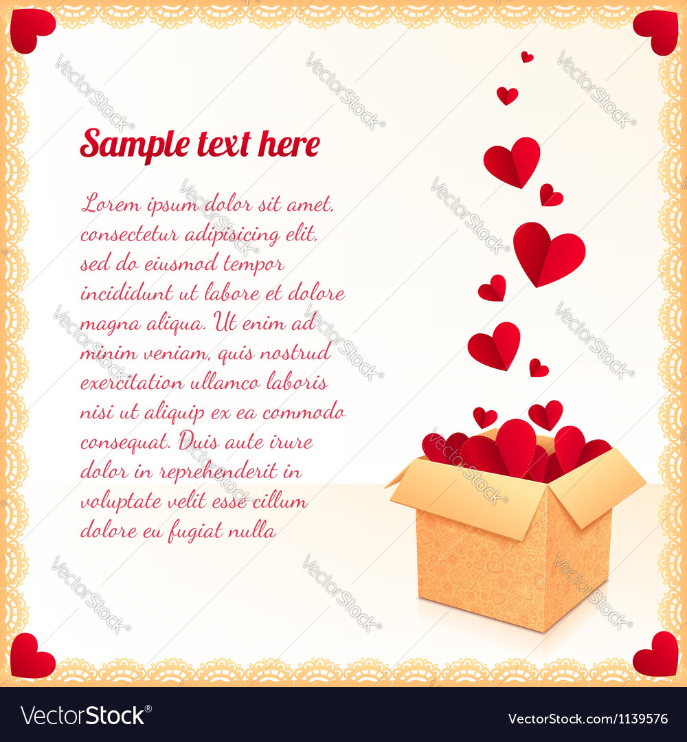 Greeting card with ornate box of red flying hearts vector image