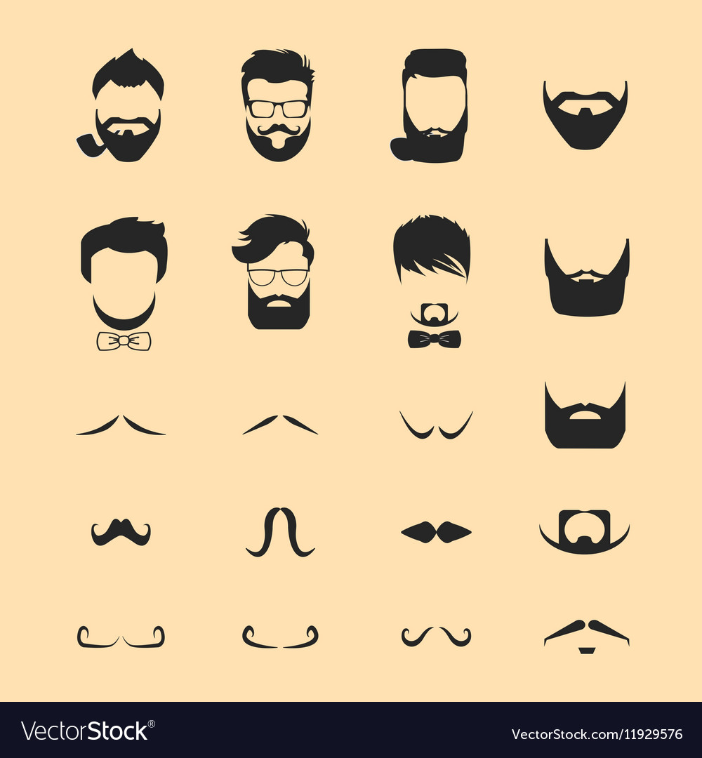 Hipster hair and beards mustache vector image