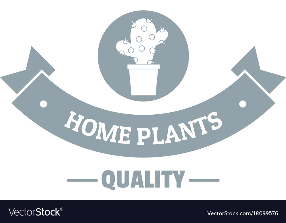 Quality home cactus logo simple gray style Vector Image