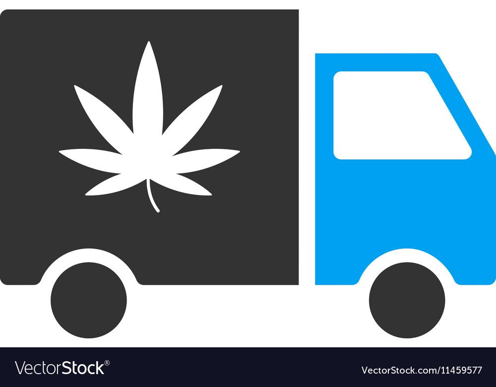 Cannabis Delivery Van Flat Icon vector image