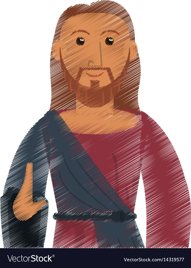 Drawing jesus christ catholic symbol design vector image