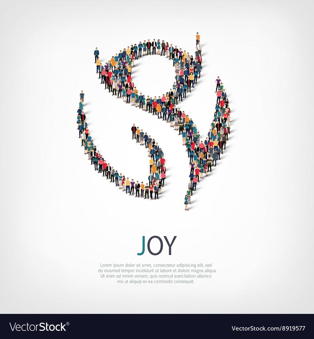 Joy people sign 3d vector image