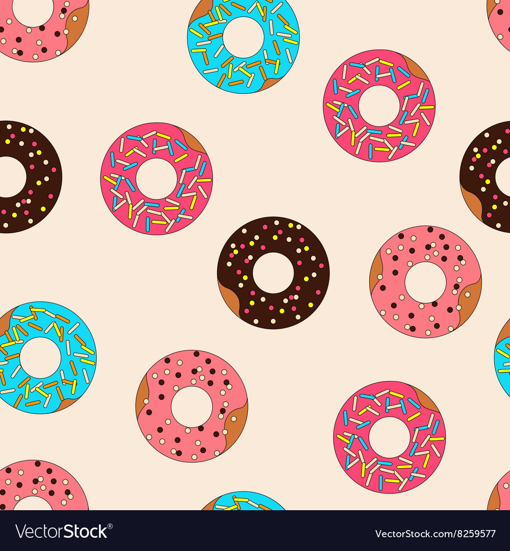 Pattern donuts with caramel topping vector image