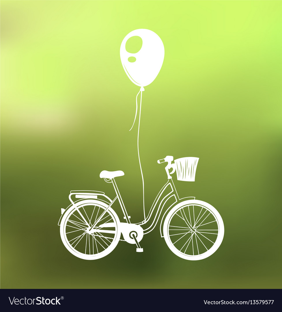 Retro bicycle with air balloon isolated on green vector image