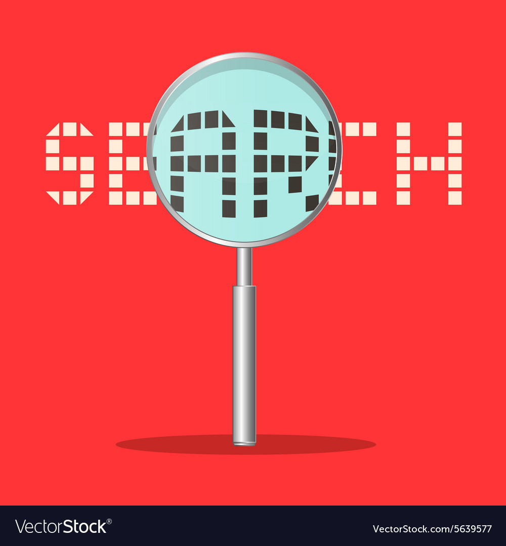 Search Title with Magnifying Glass on Retro Red vector image