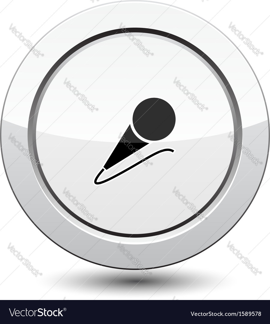 Button with microphone vector image