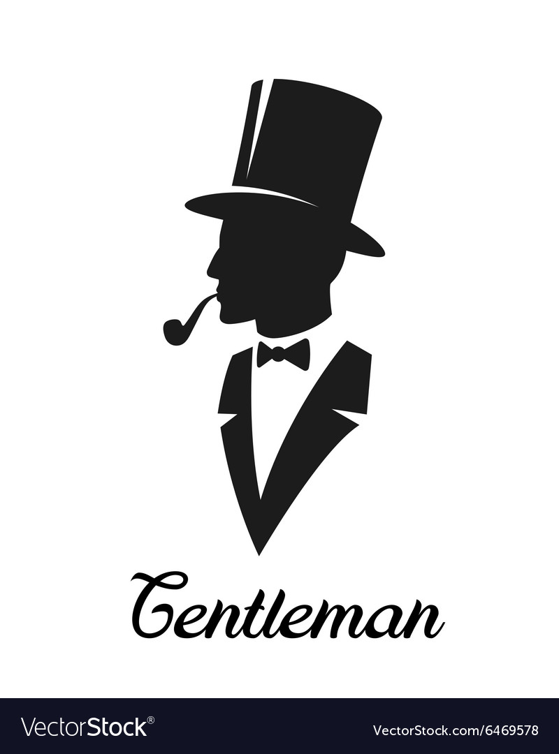 gentlemen silhouette logo royalty free vector image. Black Bedroom Furniture Sets. Home Design Ideas