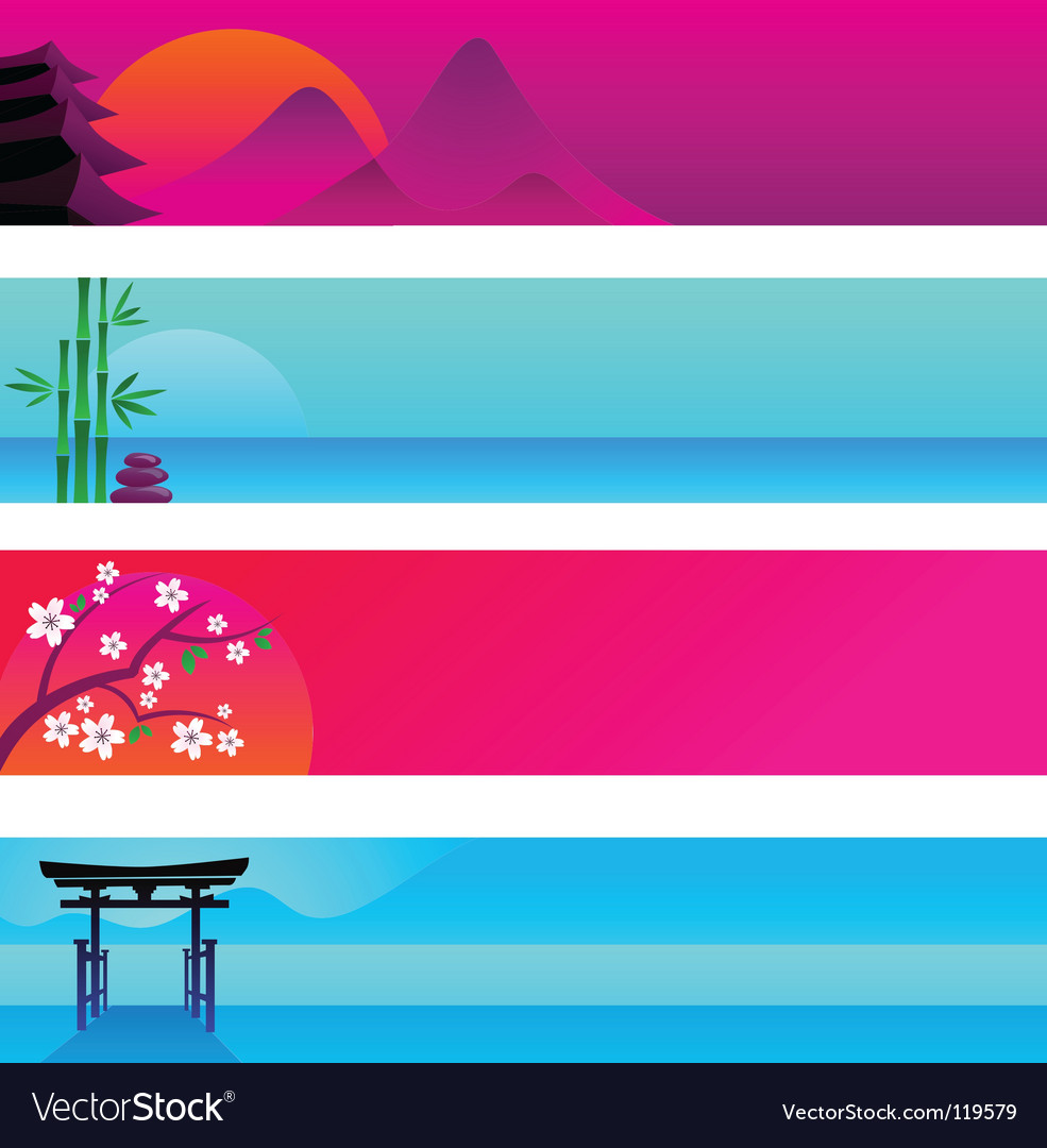 Oriental banner templates vector image
