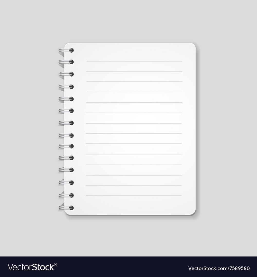 Blank realistic spiral notebook notepad isolated vector image