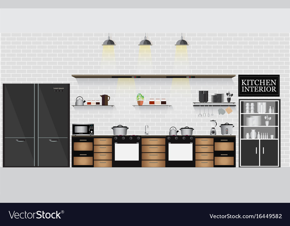 Interior kitchen with kitchen shelves and cooking vector image