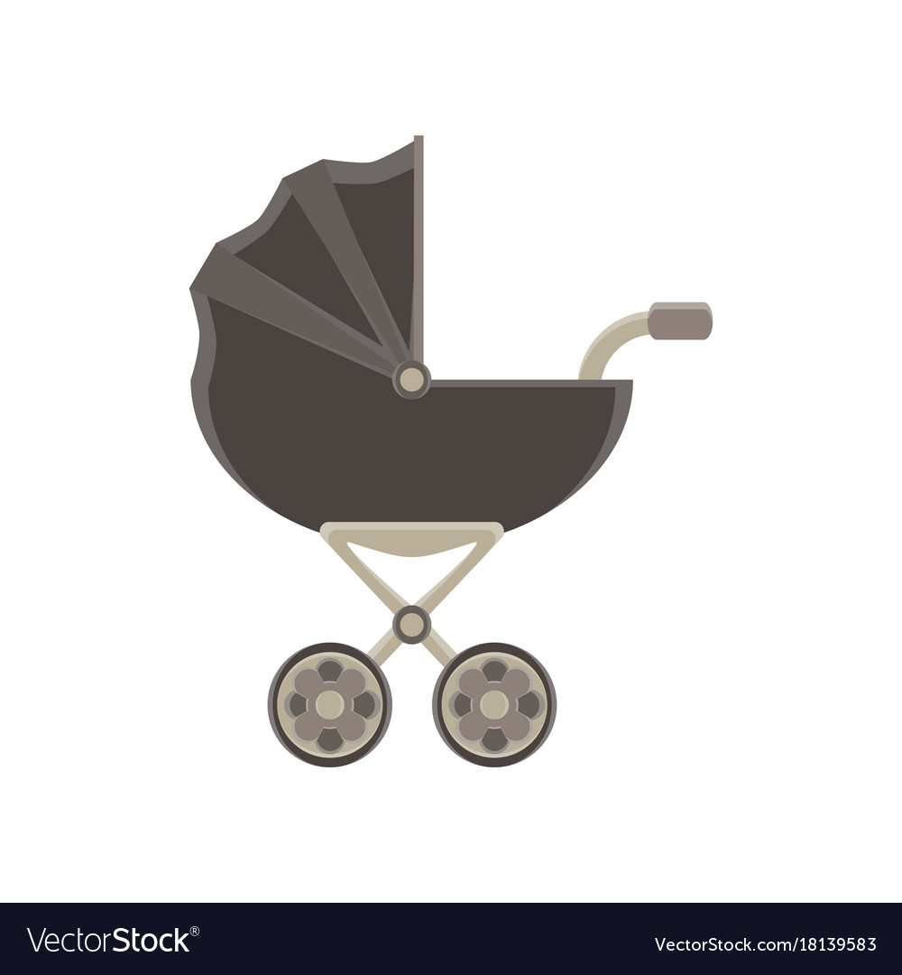 Baby carriage icon pram stroller silhouette vector image