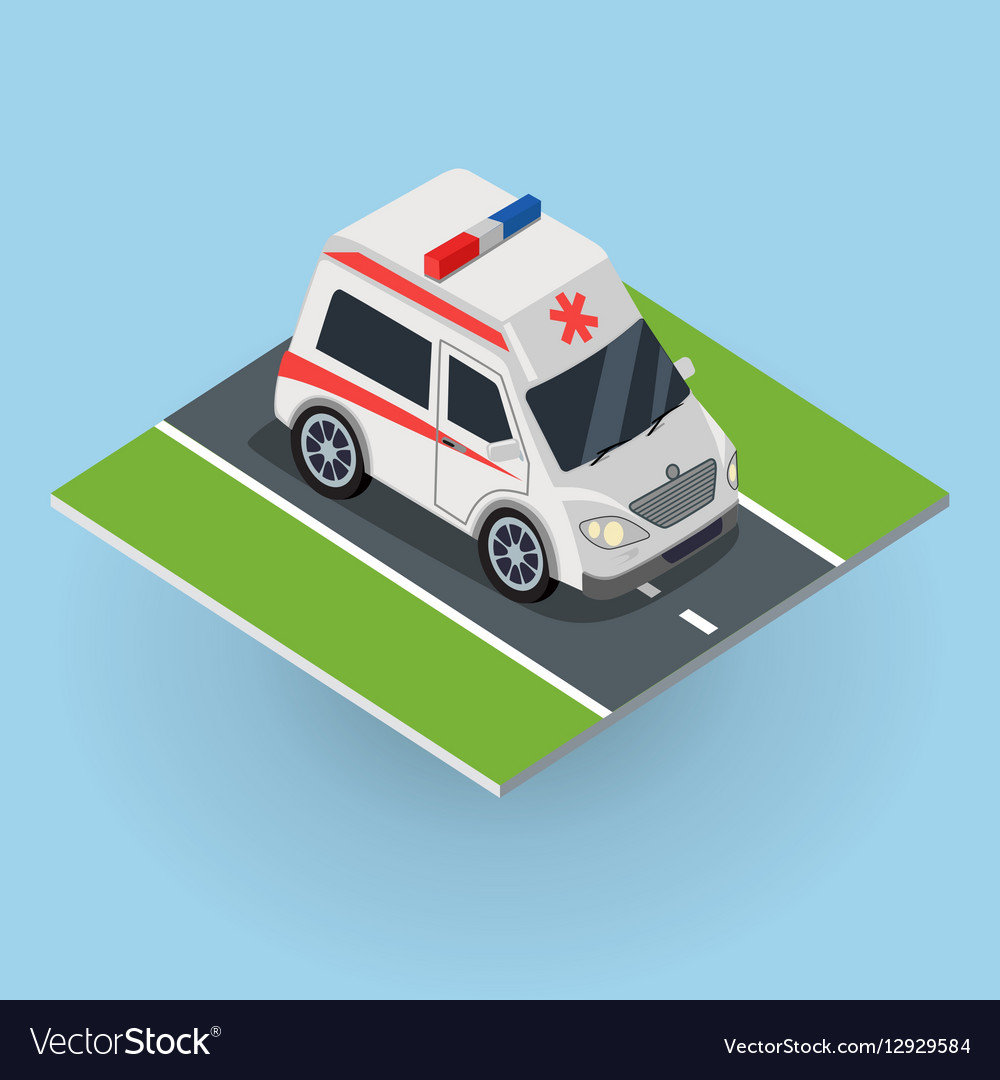 Ambulance Car on the Road Top View vector image
