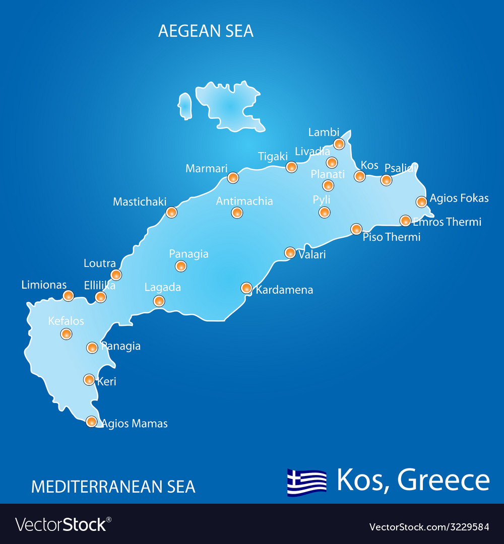 Island of Kos in Greece map Royalty Free Vector Image