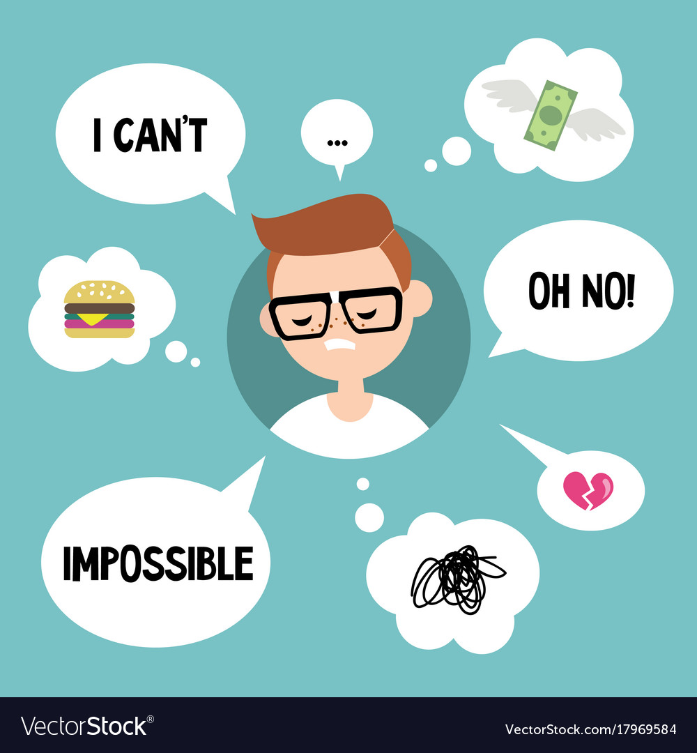 Modern communication concept unhappy nerd vector image