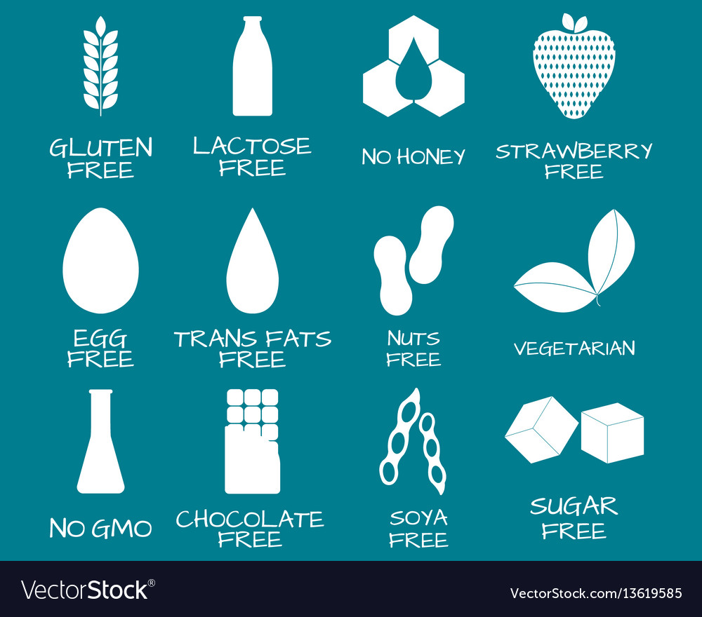 Set of food labels - allergens gmo free products vector image
