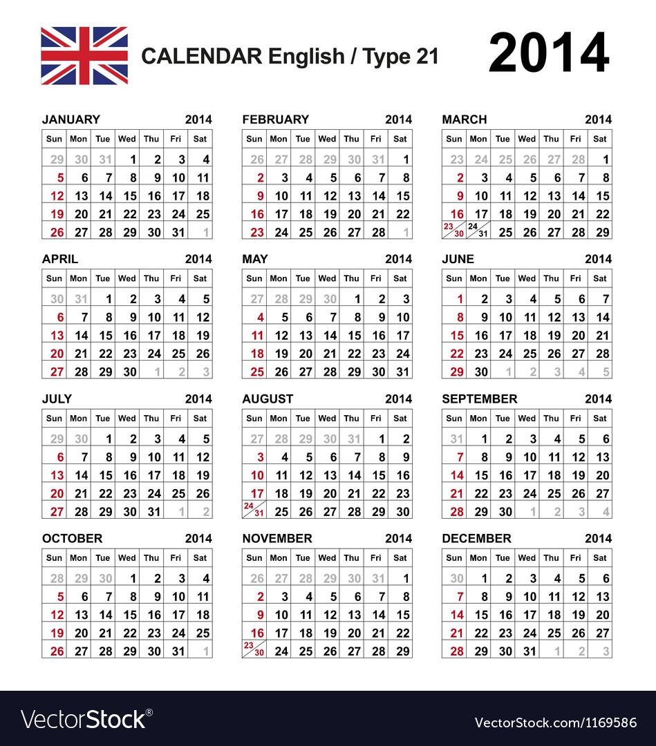 Calendar 2014 English Type 21 Vector Image